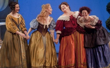 "Caitlin Mathes (from left, as Meg Page), Susannah Biller (Nanetta) Pamela Armstrong (Alice) and Angela Niederloh (Dame Quickly) rehearse for Portland Opera's presentation of ""Falstaff."""