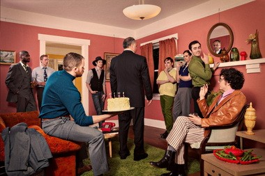 "Mart Crowley's ""The Boys in the Band,"" presented by defunkt theatre in a private home on East Burnside Street, features (from left to right) Arthur Franklin, Bjorn Anderson, Jake Street, Christopher Ringkamp, Jason Glick, Matthew Kern, Jeffrey Arrington, Joshua Rice, and Matthew Kerrigan."