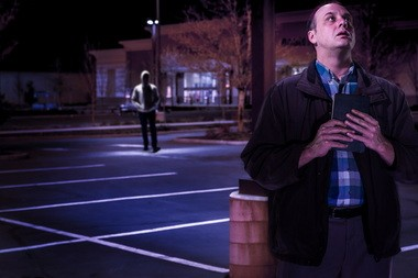 """Between retail and rapture: Tim True (at right) stars in the Third Rail Rep production of Samuel D. Hunter's play """"A Bright New Boise"""" at the Winningstad Theatre."""