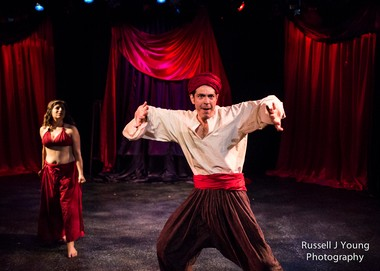 """Is he Abulkasem, or what?: Gilberto Martin del Campo (foreground) and Nicole Accuardi in the Badass Theatre Company production of """"Invasion!"""""""