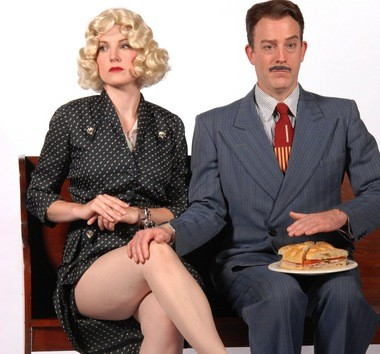 """Olivia Shimkus and Leif Norby take a """"ham-handed"""" approach to """"The Thirty Nine Steps"""" at Lakewood Theatre Company, July 11-August 17, 2014."""