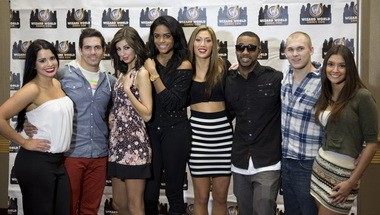 """The cast of """"The Real World: Portland,"""" photographed during their return to the Rose City for the January Portland Comic Con. From left: Jessica, Jordan, Anastasia, Nia, Joi, Marlon, Johnny and Anastasia."""