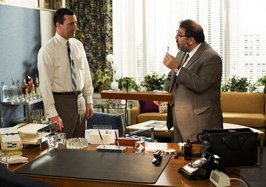 """""""Mad Men"""": In """"The Crash,"""" Don (Jon Hamm) and some of his colleagues get an injection of """"energy serum"""" from Dr. Feelgood, er, Dr. Shelly Hecht (Rick Zieff)."""