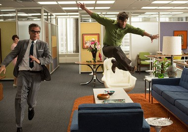 """""""Mad Men"""": See what a little energy serum pick-me-up can do for you? Cutler (Harry Hamlin) and Stan (Jary R. Ferguson) are definitely feeling it."""