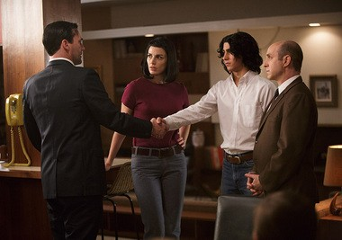 """""""Mad Men"""": Hey, isn't that Mark Lindsay? Oh wait, nope, it's Mitchell Rosen (Hudson Thames, second from right), with Don Draper (Jon Hamm), Megan Draper (Jessica Pare) and Arnold Rosen (Brian Markinson, right)."""