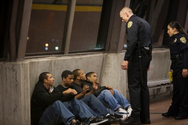 "A scene from the film ""Fruitvale Station"" depicts the last moments in the life of Oscar Grant (Michael B. Jordan)."