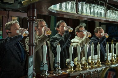 """Martin Freeman, Paddy Considine, Simon Pegg, Nick Frost, and Eddie Marsan in a scene from """"The World's End."""""""