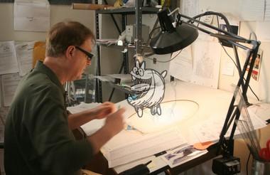 Bill Plympton at work in his studio.