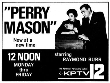 "An old TV Guide ad shares the news of ""Perry Mason"" reruns moving into the noon time slot on Portland's KPTV-TV (12.)"