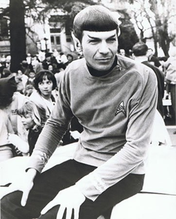 """A few years ago, Leonard Nimoy, who died Friday at age 83, shared on Twitter this Medford Mail Tribune photo of him in his """"Star Trek"""" Mr. Spock costume, which he wore as grand marshal of Medford's Pear Blossom Parade in 1967."""