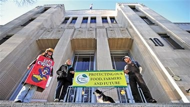 December Tueller of Ashland (left), Caroline White of Central Point, and Brandon Schilling of Ashland protest genetically modified organisms on the steps of the Jackson County Courthouse Jan. 2 in Medford. Supporters of a local ban on genetically modified crops filed signatures with the Jackson County clerk that day to put a measure on the county ballot.