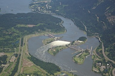Bonneville Dam is about 40 miles east of Portland and was built in 1937.
