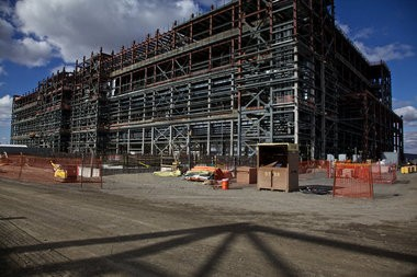 Major construction has stalled on the pre-treatment building, home to 15 black cells.