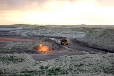 A coal mine in Wyoming's section of the Powder River Basin.