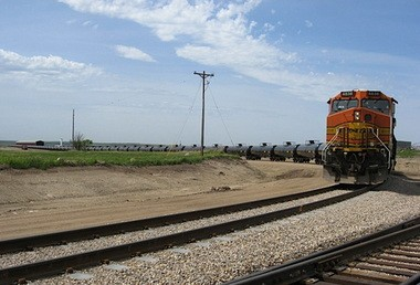 An oil train leaves the Bakken oil fields after being loaded near Epping, N.D. North Dakota's capacity to ship oil by rail has jumped with increased production.