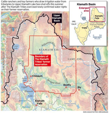 Water squeeze in Oregon's Klamath Basin pits ranchers against tribes on klamath county map, trinity county map, six rivers national forest map, klamath national forest map, klamath basin map, humboldt county map, roosevelt national forest trail map, oregon rivers map, lake of the woods map, lower klamath national wildlife refuge map, klamath mountains map, morgan hill map, prairie creek redwoods state park map, trinity lake map, klamath marsh map, klamath lake map, southern oregon northern california map, highland map, redwood national and state parks map,