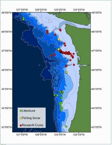 This map pinpoints 168 methane bubble plumes researchers located off the Oregon and Washington coasts.