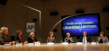 President Bush, second from right, speaks during his roundtable discussion on health savings accounts in 2008 in Oklahoma City. HSAs are becoming more common as more employers and individuals opt for premium savings with high-deductible health plans.