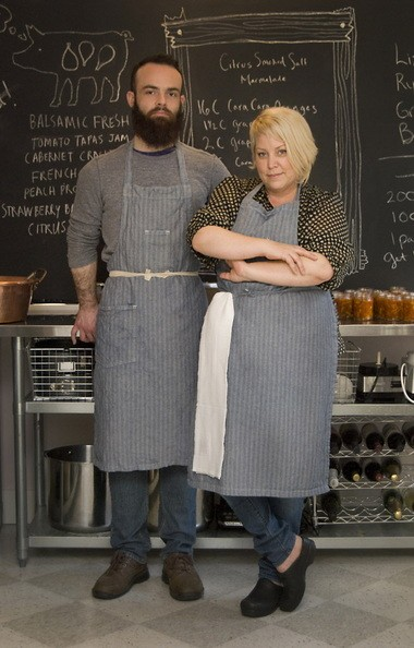 Three Little Figs founder Liz Cowan with co-jam maker Grant King.