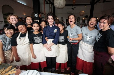 Portland chef Naomi Pomeroy (center, in navy shirt) lent her expertise to Yangon Bakehouse in Myanmar.