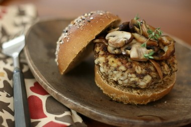 The Mushroom Burger With Barley is chewy, tasty and happens to be vegan.