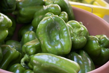 Green bell peppers.