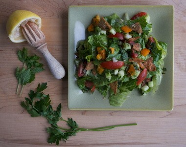 """In the 1970s, consumers couldn't find many international food products that we take for granted today, like the pita bread that's needed to make Mollie Katzen's Fattoush salad from """"The Heart of the Plate."""""""