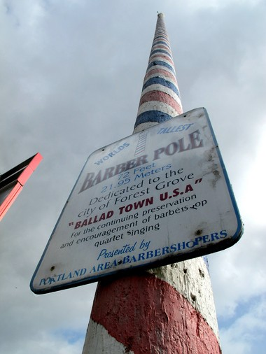 At 73 feet, the world's tallest barber pole resides in Forest Grove's Lincoln Park