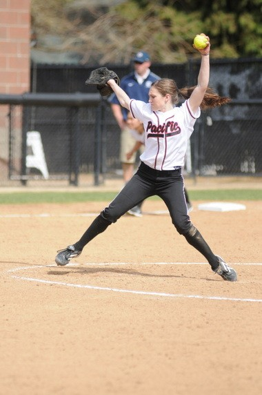 Pacific's Marissa Reichard pitches during the Boxers' 8-1 win over George Fox Friday. Tyson Alger, The Oregonian