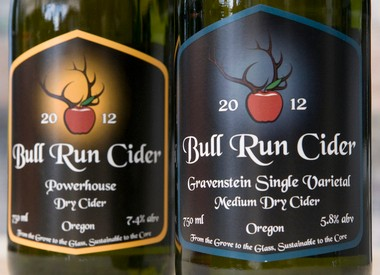 Currently Bull Run Cider offers two hard ciders on the market, their dry Powerhouse and a medium dry Gravenstein Single Varietal, both available in Hillsboro at Primrose & Tumbleweeds.