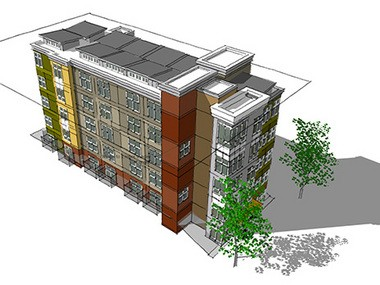 A rendering of Footprint Thurman, a micro-apartment building under construction in Northwest Portland.