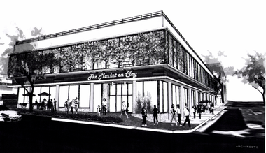A concept image of a grocery store at the former University Station post office, submitted in October by LRS Architects to the Portland Bureau of Development Services.
