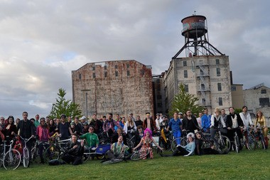 Participants in the 2014 Bowie vs. Prince Pedalpalooza Ride.