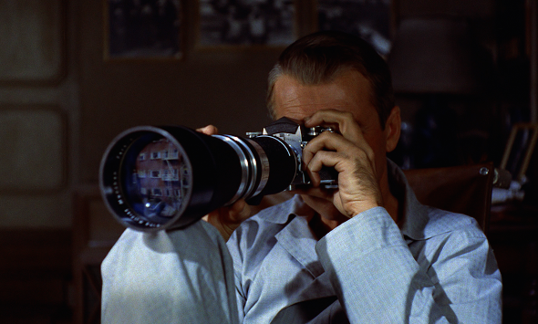 """Jimmy Stewart with his Exakta in 1954's """"Rear Window."""" (Paramount Pictures)"""