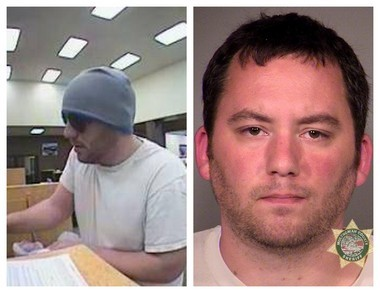 Gresham police said 30-year-old Trevor Lee Schindler, right, is the man seen during a robbery of a Wells Fargo branch in March. Schindler was indicted last week by a federal grand jury.
