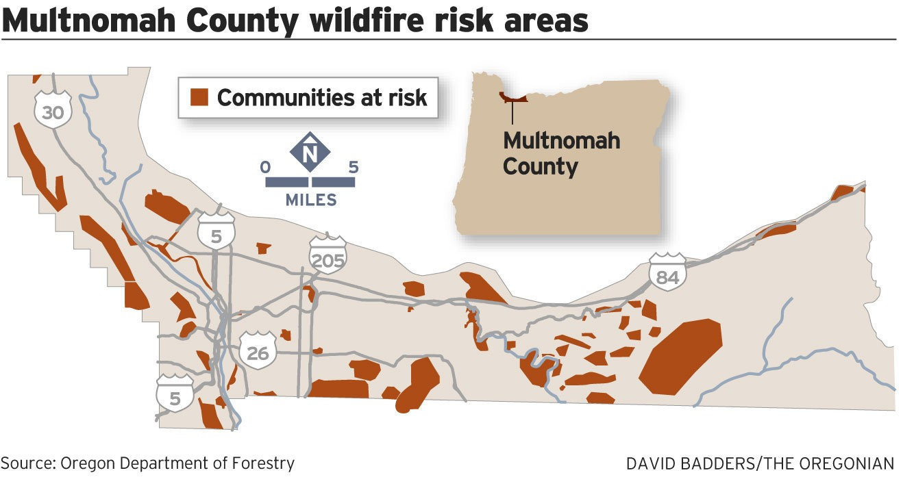 portland or county map Multnomah County Wildfire Map Shows Portland Neighborhoods At Risk portland or county map