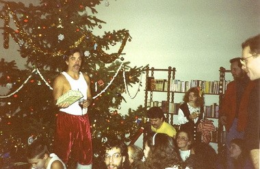Pastor Mike Sperou leads a Christmas celebration at the church in the 1990s.