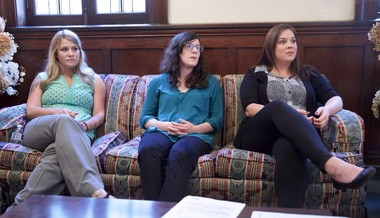 Bryn Garrett (from left), 30, Jennifer Olajuyin, 32, and Rachel Schackart, 29, are among a group of women who have come forward to talk about alleged abuse in their youth by North Clackamas Bible Community pastor Mike Sperou in the 1990s. Sperou is currently facing charges based on allegations by one of the women from that time.