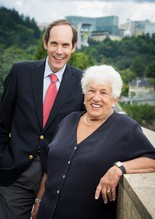 Brian Druker and Gert Boyle in July, after Gert made her $100-million donation.