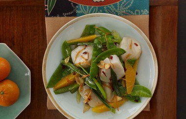 """Stir-Fried Sea Scallops and Snow Peas, a recipe from """"Weight Watchers New Complete Cookbook."""""""