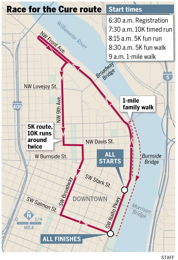 The 2016 Race for the Cure route follows the waterfront before looping through downtown. Map by Shawn Barkdull/Staff