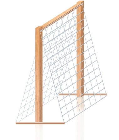 Remesh with 6-gauge wire is my preferred mesh; I use it for trellises, fencing and the chicken run. The weight won't sag if it's well stapled.