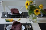 Chalkboard placemats from B A Friend wipe clean with a damp cloth.
