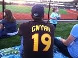 Jason Boire of Beaverton wears a Tony Gwynn No. 19 jersey at a Hillsboro Hops game, two days after Gwynn's death.