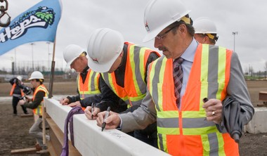 Hillsboro mayor Jerry Willey signed the last steel beam to be lifted into place on the superstructure of the Hillsboro baseball ballpark last month (Michal Thompson/The Argus)