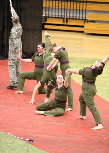 "The Glencoe High School varsity winter guard practices their performance, ""Come on Home,"" for the Color Guard World Championships in Dayton, Ohio, April 11-13. From left to right, Connor Stettler, Hannah Eakin, Maddie Bernhardt, Stephanie Mentzer, Emily Hackbart and Makayla Heinlein."