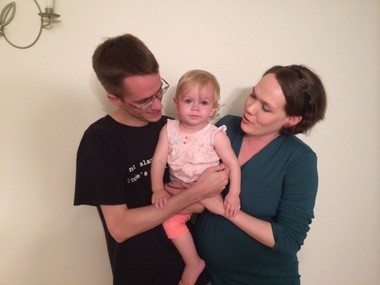 Libertarian candidates Kyle Markley and Caitlin Mitchel-Markley, with their 14-month-old daughter, Corwyn.