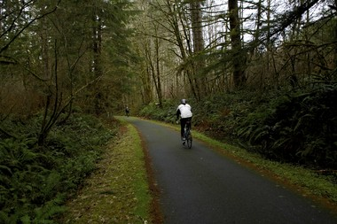 The Banks-Vernonia State Trail, Oregon's 21-mile-long first rails-to-trails project, was completed in October 2010 with the paving of key gravel sections and the installation of a trailhead and parking area at the southern terminus in Banks.