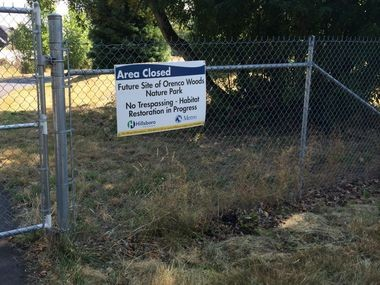 The Orenco Woods site is still being prepared for use as a nature park.