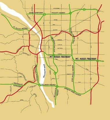 This map shows a concept for a freeway system that would have been much more extensive than the one Portland has today. It may have moved traffic around more efficiently, but it would also have led to the bulldozing of several neighborhoods. The red freeways were built; the green were not.